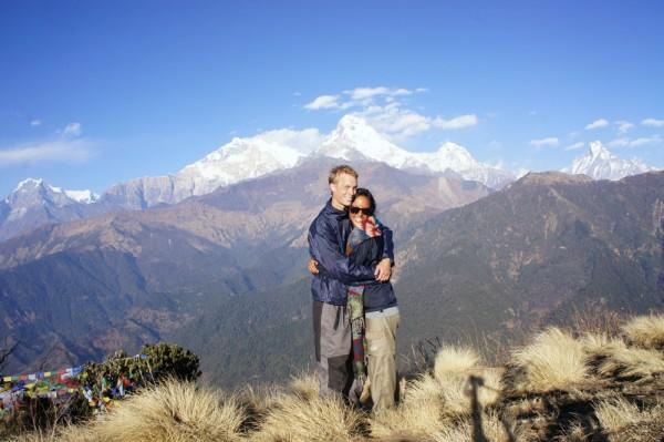 Nepal, Poon Hill. Martijn Boere en Roana Luhulima.
